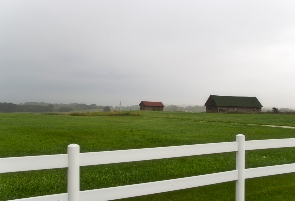 Ullmer's Farm on Bay Settlement Road. The Bay is below but shrouded in fog.